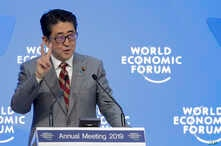 Japanese Prime Minister Shinzo Abe addresses the annual meeting of the World Economic Forum in Davos, Switzerland, Jan. 23, 2019.