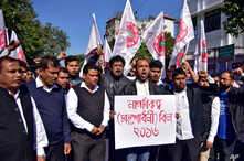 Activists from the All Assam Students Union (AASU) shout slogans during a protest against the government's bid to pass a bill in parliament to give citizenship to non-Muslims from neighboring countries, in Guwahati, India Jan. 7, 2019.