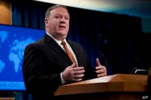 Secretary of State Mike Pompeo speaks at a news conference in the press briefing room at the State Department in Washington, Sept. 14, 2018, in Washington.