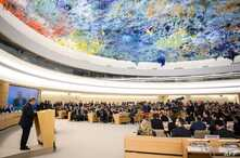 UN Secretary-General Antonio Guterres (L) delivers a speech at the opening day of the 40th session of the United Nations (UN) Human Rights Council, Feb. 25, 2019 in Geneva.