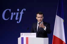 France's President Emmanuel Macron gives a speech during the 34rd annual dinner of the group CRIF, Representative Council of Jewish Institutions of France, in Paris, Feb. 20, 2019.