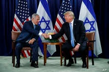 President Donald Trump shakes hands with Israeli Prime Minister Benjamin Netanyahu at the United Nations General Assembly, Sept. 26, 2018, at U.N. Headquarters.