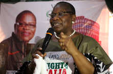 FILE - ACPN (Allied Congress Party of Nigeria) female presidential candidate Oby Ezekwesili speaks during a campaign in Kaduna, Jan. 17, 2019.