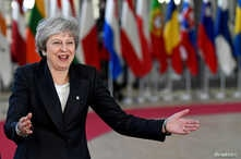 British Prime Minister Theresa May arrives at a European Union leaders summit in Brussels, Dec. 13, 2018.