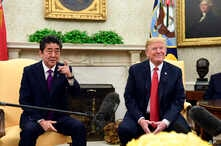 President Donald Trump meets with Japanese Prime Minister Shinzo Abe  in the Oval Office of the White House in Washington, June 7, 2018.