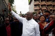 Felix Tshisekedi, leader of the Congolese main opposition party, the Union for Democracy and Social Progress (UDPS) who was announced as the winner of the presidential elections gestures to his supporters in Kinshasa, Democratic Republic of Congo, Ja