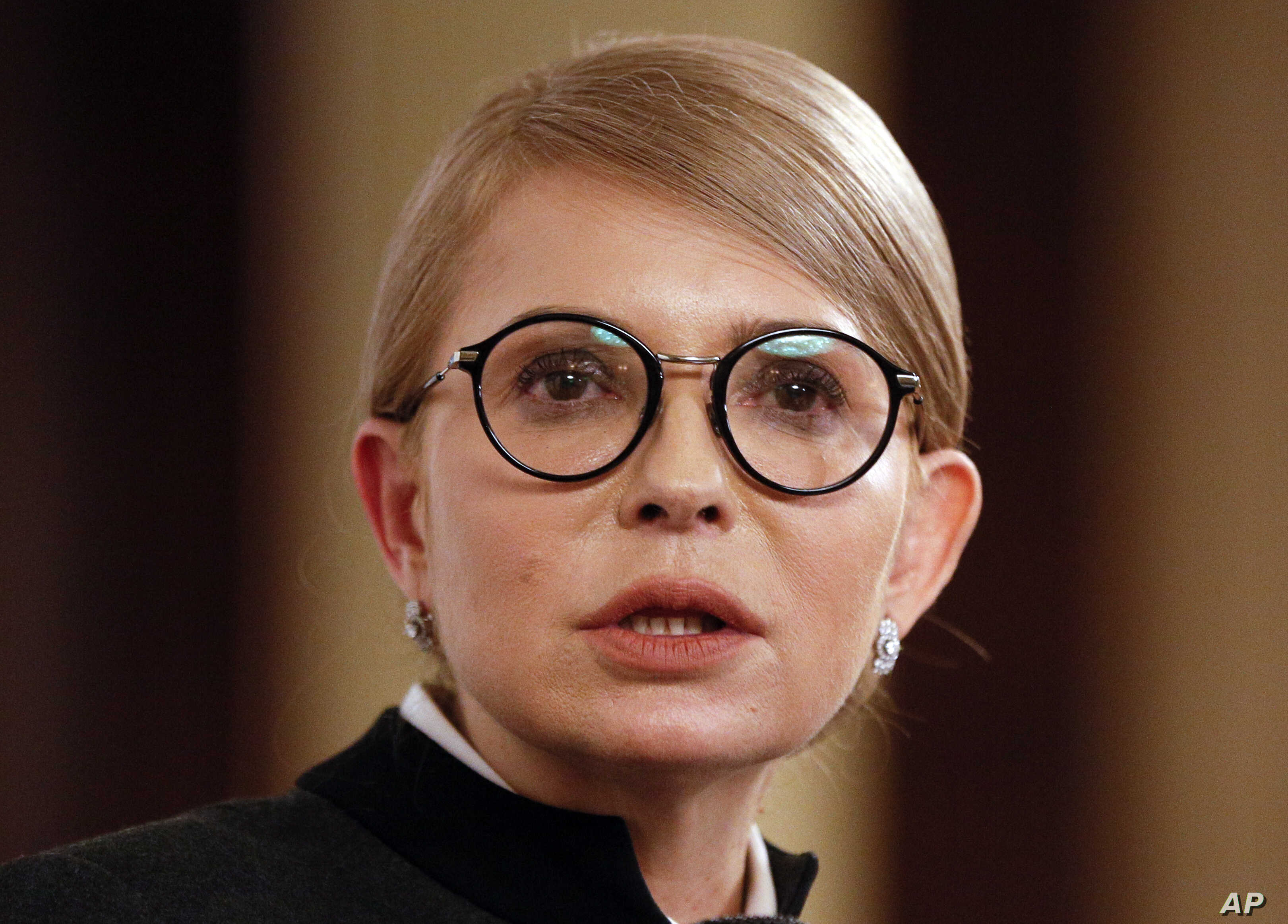 Former Ukrainian prime minister Yulia Tymoshenko speaks during her interview with The Associated Press in Kyiv, Ukraine, Feb. 4, 2019.