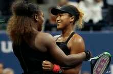 Serena Williams hugs Naomi Osaka, of Japan, after Osaka defeated Williams in the women's final of the U.S. Open tennis tournament, Saturday, Sept. 8, 2018, in New York.