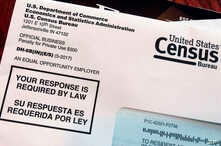 FILE - This March 23, 2018, file photo shows an envelope containing a 2018 census letter mailed to a U.S. resident as part of the nation's only test run of the 2020 Census.