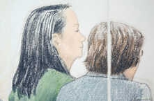 FILE - Huawei CFO Meng Wanzhou (L), who was arrested on an extradition warrant, appears at her B.C. Supreme Court bail hearing in a drawing in Vancouver, British Columbia, Canada, Dec. 10, 2018.