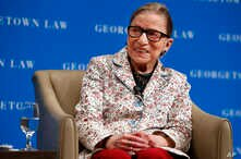 Supreme Court Justice Ruth Bader Ginsburg smiles as she takes questions from first-year students at Georgetown Law, Sept. 26, 2018, in Washington.