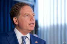 Geoffrey Berman, the United States Attorney for the Southern District of New York,holds a press conference, Aug. 8, 2018, in New York.