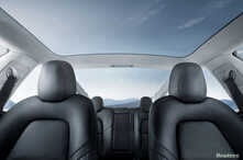 FILE - The interior of the Tesla Model 3 sedan is seen in this undated handout image as the car company handed over its first 30 Model 3 vehicles to employee buyers at the company's Fremont facility in California, July 28, 2017.
