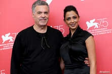 """Director Amos Gitai and actor Maisa Adb Elhadi are pictured during a photo call for the films """"A Letter to a Friend in Gaza"""" and """"A Tramway in Jerusalem"""" at the 75th Venice International Film Festival, Sept. 3, 2018."""