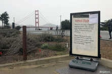 A sign near the Golden Gate Bridge shows federal land being closed because of a partial U.S. government shutdown in San Francisco, Dec. 23, 2018.