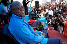 Opposition presidential candidate Felix Tshisekedi waits to address his supporters at the UDPS party headquarters in Kinshasa, Congo, Dec. 21, 2018.