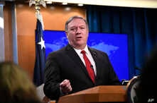 Secretary of State Mike Pompeo answers a question during a news conference, at the Department of State in Washington March 26, 2019.