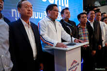 Uttama Savanayana, Palang Pracharat Party leader, holds a news conference during the general election in Bangkok, Thailand, March 24, 2019.