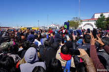Employees of Autoliv Mexico EAST, the world's largest automotive safety supplier, listen to a lawyer as they strike in Matamoros, in the state of Tamaulipas, Mexico, Jan. 29, 2019.