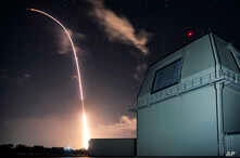 FILE - This Monday, Dec. 10, 2018, file photo provided by the U.S. Missile Defense Agency (MDA) shows the launch of the U.S. military's land-based Aegis missile defense testing system.