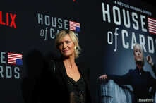"""Cast member Robin Wright poses at a premiere for the television series """"House of Cards"""" in Los Angeles, California, Oct. 22, 2018."""