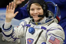 U.S. astronaut Anne McClain, a member of the main crew of the expedition to the International Space Station, before the launch of Soyuz MS-11 space ship at the Russian leased Baikonur cosmodrome, Kazakhstan, Dec. 3, 2018.