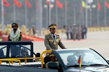 Myanmar's commander-in-chief, Gen. Min Aung Hlaing inspects officers during a parade to commemorate the Myanmar's 72nd Armed Forces Day in Naypyitaw, Myanmar, March 27, 2017.