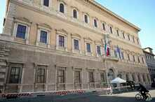 "A view of the Farnese Palace which hosts the French embassy to Italy, in Rome, Feb. 8, 2019. France's government spokesman said that the recall of the French ambassador was prompted by months of ""unfounded attacks"" from Italian government members Lui"