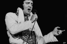 FILE - In this May 23, 1977 file photo, Elvis Presley performs in Providence, R.I., three months before his death.