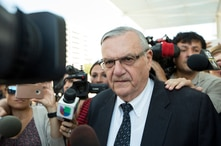 FILE - Former Sheriff Joe Arpaio leaves the federal courthouse on July 6, 2017, in Phoenix, Arizona.