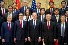 Front row from left; U.S. Ambassador to China Terry Branstad, U.S. Treasury Secretary Steven Mnuchin, U.S. Trade Representative Robert Lighthizer, Chinese Vice Premier Liu He, and People's Bank of China Governor Yi Gang pose for a group photo at the