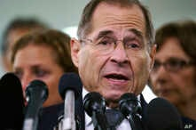 FILE - House Judiciary Committee ranking member Jerry Nadler talks to the media on Capitol Hill in Washington, Sept. 28, 2018.