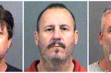 This combination of Oct. 14, 2016, file booking photos provided by the Sedgwick County Sheriff's Office in Wichita, Kan., shows from left, Patrick Stein, Curtis Allen and Gavin Wright, three members of a Kansas militia group who were charged with plo