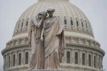 The U.S. Capitol Dome is seen behind the Peace Monument statue in Washington, Monday, Dec. 31, 2018, as a partial government shutdown stretches into its second week.