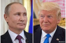 Russian President Vladimir Putin attends a news conference at the Kremlin in Moscow, Russia, on Jan. 17, 2017 and U.S. President Donald Trump seen at a reception ceremony in Riyadh, Saudi Arabia, on May 20, 2017, as seen in this combination photo.