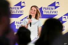 Chairwoman of the Reform Party Kaja Kallas speaks at her party headquarters after a parliamentary elections in Tallinn, Estonia, Sunday, March 3, 2019.