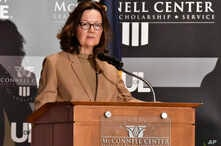 CIA Director Gina Haspel addresses the audience as part of the McConnell Center Distinguished Speaker Series at the University of Louisville, in Louisville, Ky., Sept. 24, 2018.