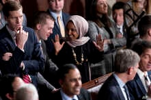 FILE - Rep. Ilhan Omar, D-Minn., center, arrives before NATO Secretary General Jens Stoltenberg addresses a Joint Meeting of Congress on Capitol Hill in Washington, Wednesday, April 3, 2019, having been invited by the bipartisan leadership of the Hou...