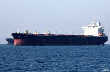 An oil tanker is pictured off the Iranian port city of Bandar Abbas, which is the main base of the Islamic republic's navy and has a strategic position on the Strait of Hormuzon, April 30, 2019.