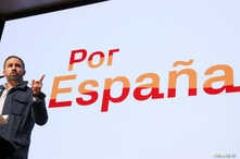 FILE - Santiago Abascal, leader and presidential candidate of Spain's far-right party VOX, speaks at a rally in Toledo, Spain, April 11, 2019.