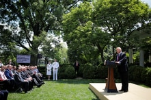 President Donald Trump speaks about his administration's proposals to change U.S. immigration policy as members of his cabinet and others listen in the Rose Garden of the White House in Washington, May 16, 2019.