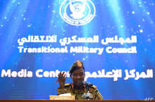 Spokesman of the Sudan's Transitional Military Council, Lieutenant General Shamseddine Kabbashi, speaks during a press conference in Khartoum, May 7, 2019.