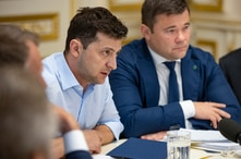 Ukrainian president Volodymyr Zelenskiy speaks during a meeting with the lawmakers in Kiev, Ukraine, May 21, 2019.
