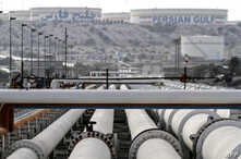FILE - A picture shows export oil pipelines at an oil facility in Iran's Kharg Island, on the shore of the Persian Gulf, Feb. 23, 2016.