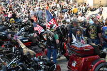 """A crowd of motorcyclists is gathered at the Washington National Cathedral for the """"Blessing of the Bikes,"""" May 24, 2019, in Washington. - The Rolling Thunder First Amendment Demonstration Run, a tradition since 1988, comes to an end this Memorial Day..."""