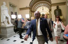 House Majority Whip James Clyburn of S.C., leaves after a vote on Capitol Hill, June 27, 2019 in Washington.
