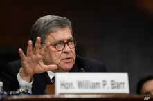 Attorney General William Barr testifies before the Senate Judiciary Committee on Capitol Hill in Washington, May 1, 2019.