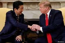 U.S. President Donald Trump meets with Japan's Prime Minister Shinzo Abe in the Oval Office at the White House in Washington, April 26, 2019.