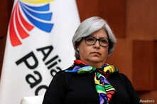 FILE - Mexico's Economy Minister Graciela Marquez looks on during a news conference after attending a meeting in Mexico City, Mexico, May 10, 2019.