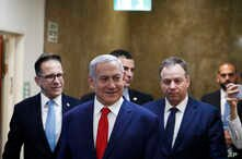 FILE - Israeli Prime Minister Benjamin Netanyahu arrives for his cabinet's weekly meeting, in Jerusalem, April 14, 2019.